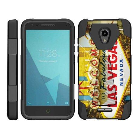 TurtleArmor ®   For Alcatel IdealXCITE   CAMEOX   U50   Verso [Dynamic Shell] Dual Layer Hybrid Silicone Hard Shell Kickstand Case - Viva Las