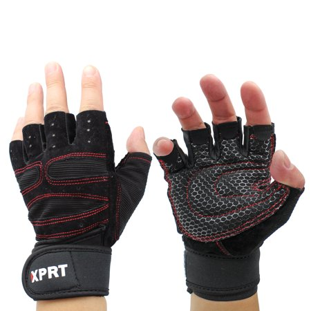 XPRT FITNESS Padded Weight Lifting Gloves with Built-in Wrist Support Wraps, Cross Training & Gym Gloves, Great for Pull Ups, Strength Training, WODs, Best for Men &