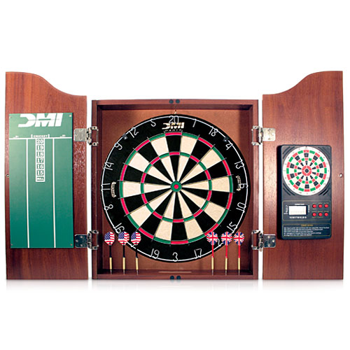 DMI Sports Bristle DartBoard with Solid Wood Cabinet
