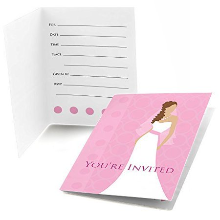 Bride pink fill in bridal shower invitations 8 count for Bridal shower fill in invitations