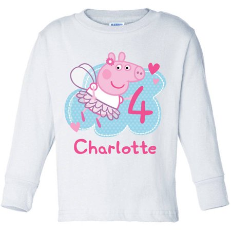 White Pig - Personalized Peppa Pig Birthday Fairy Toddler Girl White Long Sleeve Tee