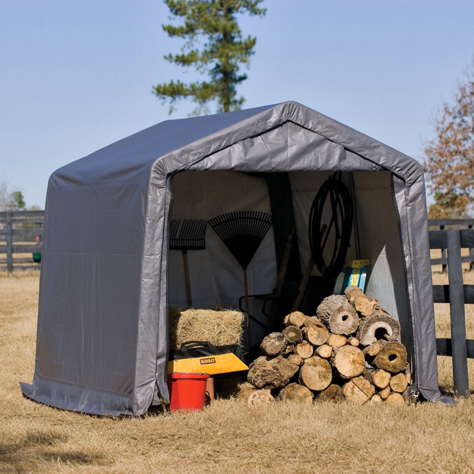 Shed-in-a-Box 10' x 10' x 8' Peak Storage Shed, Gray