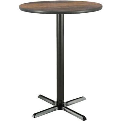 30 Inch Round Bar Height Pedestal Table W/ Walnut Laminate Top, Cast Iron  Base