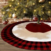 BIGTREE Knitted Plaid Rustic Heavy Yarn Christmas Tree Skirt, 47 inches Thick Sweater Feel Holiday Decoration