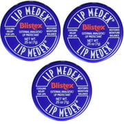 Blistex Lip Medex Cooling Relief for Sore Lips & Moisture 0.25 oz Each (3 Jars)