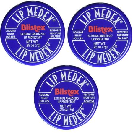Blistex Lip Medex Cooling Relief for Sore Lips & Moisture 0.25 oz Each (3