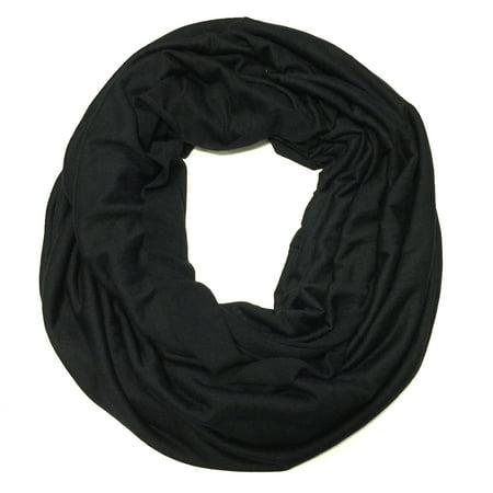 Wrapables® Soft Jersey Knit Infinity Scarf, Black Free Knitting Scarf