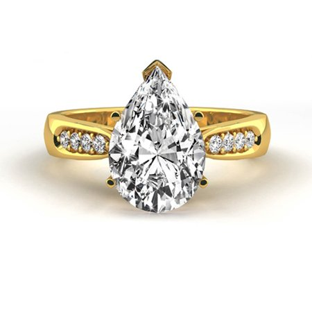 1.17 Carat Weight Pear Shaped Diamond Engagement Ring - 18K Yellow Solid