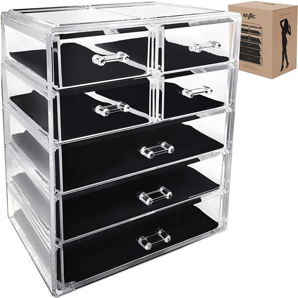 Acrylic Cosmetic Makeup Jewelry Organizer Large 7 Drawer Make Up Holder For Brush Cream Lipstick Palette Countertop Beauty Makeup Organization Box Ideal Storage For Any Bathroom Or Bedroom Table Walmart Com
