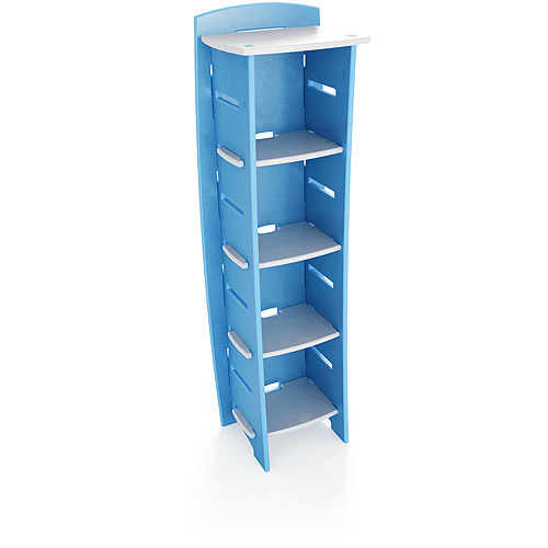 No Tools Assembly - Bookcase, Blue and White