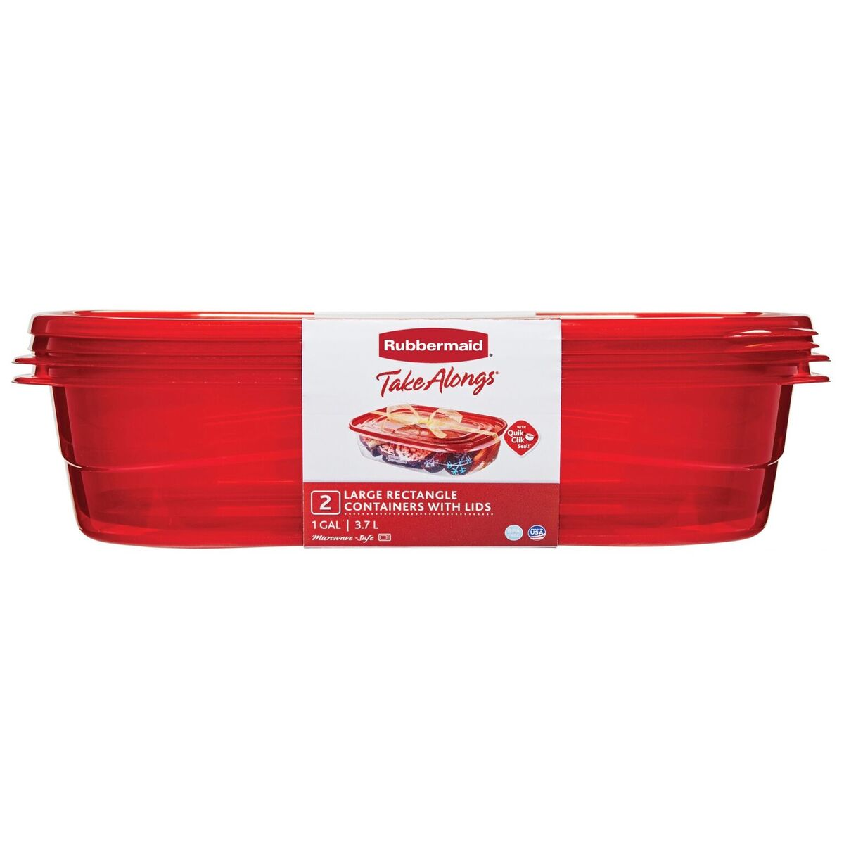 Rubbermaid TakeAlongs Large Rectangular Food Storage Container, 1 Gallon, 2-Pack, Red
