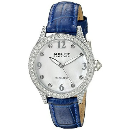 Mother Of Pearl Silver Wrist Watch - Women's AS8188BU Silver Crystal Accented Quartz Watch with White Mother of Pearl Dial and Blue Embossed Leather Bracelet