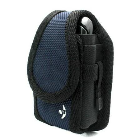 Authentic Blue Nite-Ize Cargo Case Rugged Canvas Cover Belt Clip Holster P3B for Alcatel Cingular Flip 2, Go Flip - Doro PhoneEasy 626 - Kyocera Cadence, DuraXTP - LG 840G