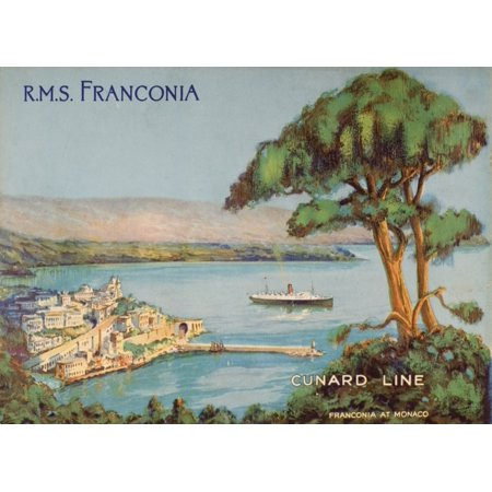 Cunard Line Promotional Brochure For The Rms Franconia Circa 1926-1930 Poster Print (16 x 12)