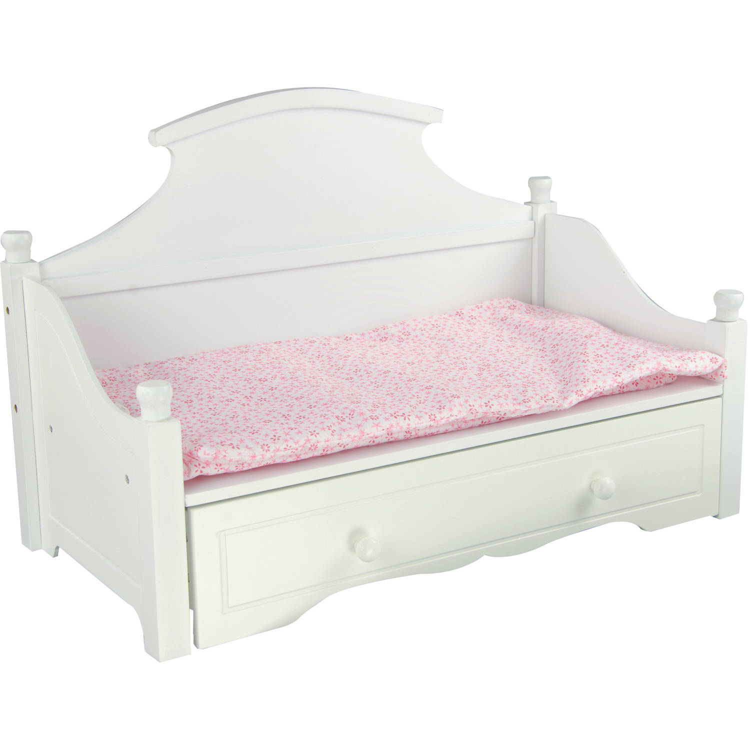 Olivia's Little World Princess White Trundle Bed with Pink Floral Mettress Wooden 18 inch Doll Furniture by Teamson