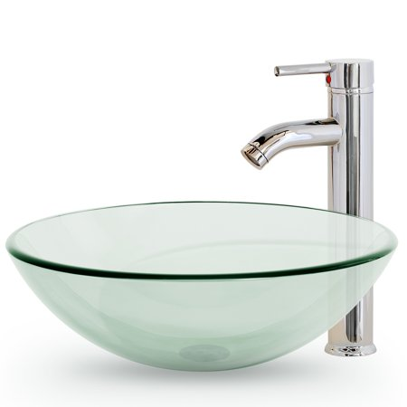 Bathroom Vessel Sink With Faucet And Pop Up Drain Combo Contemporary Modern Tempered Glass