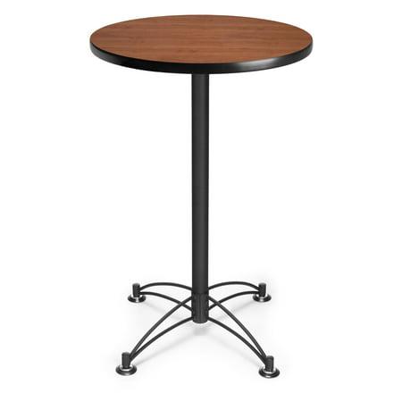 CBLT24RD-CHY Restaurant Furniture 24 Inch Round Black Base Cherry laminate Top steel pedestal Cafe counter Height