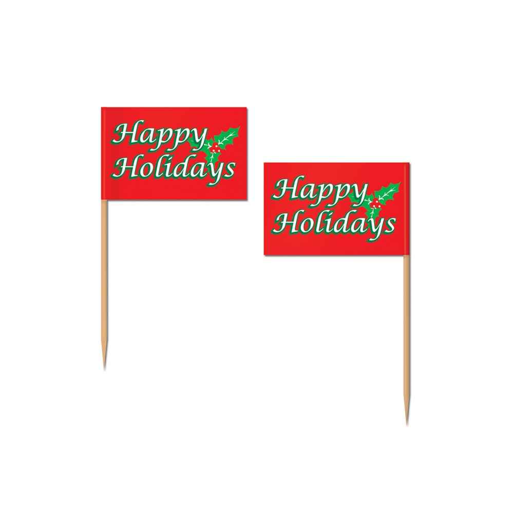 Beistle 20126 Holiday Flag Picks - Pack of 12