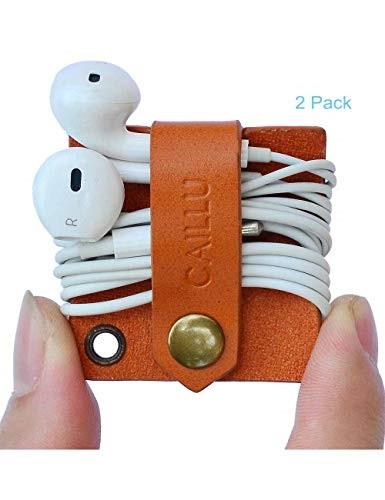 Earphone USB Cable Winder Wire Cord Organizer Holder Buckle Clip Wrap Leather