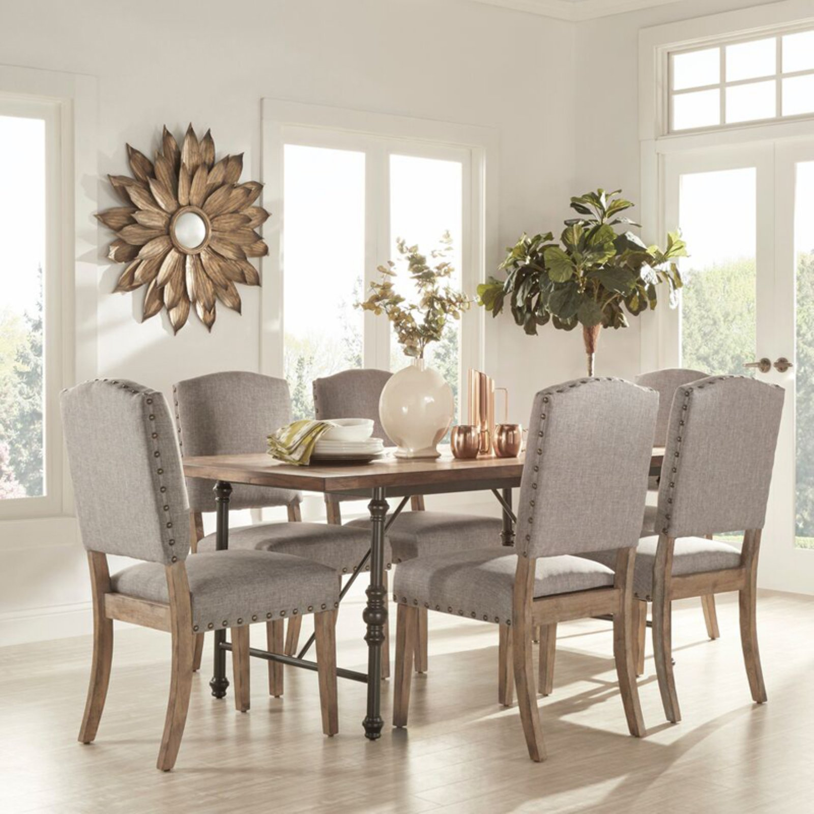 Weston Home 7 Piece Industrial Dining Set With Gray Chairs