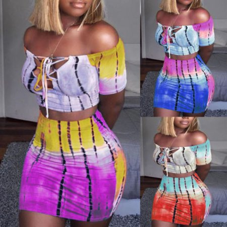 Sexy Women Off Shoulder Bodycon T shirt Crop Tops Skirt Set Ladies Bandage Mini Clothes 2pcs Set
