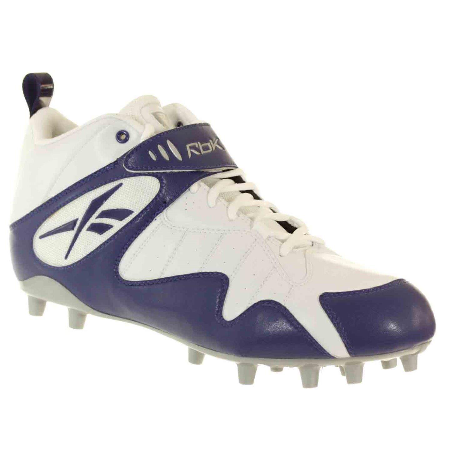 REEBOK PRO ALL OUT ONE MID MP MENS FOOTBALL CLEATS WHITE DARK ROYAL 10.5