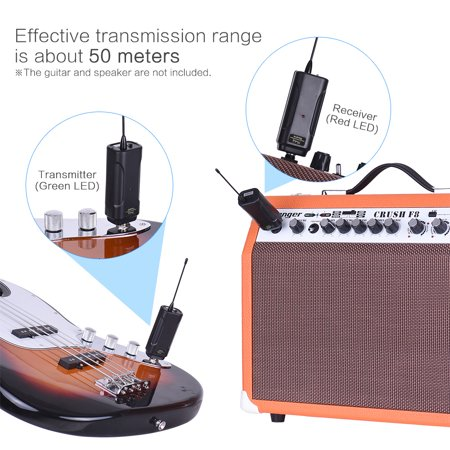 muslady portable wireless audio transmitter receiver system for electric guitar bass electric. Black Bedroom Furniture Sets. Home Design Ideas