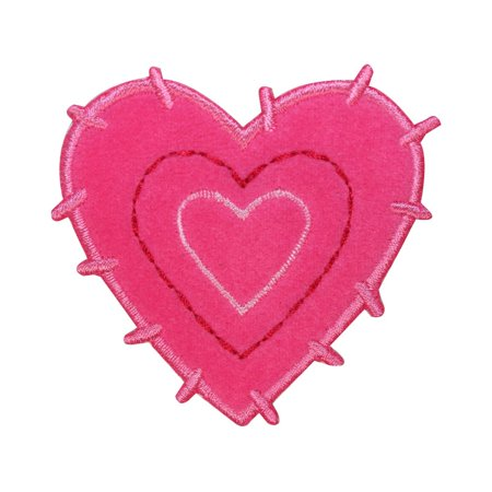 ID 3240 Fluffy Heart Patch Valentine Day Love Furry Embroidered Iron On Applique - Embroidered Hearts