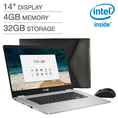 2019 ASUS Chromebook C423NA 14 FHD 1080P Display with Intel Dual Core Celeron Processor, 4GB RAM, 32GB eMMC Storage, Bonus Mouse and Sleeve Included,Silver Color (Best Laptops Of 2019)