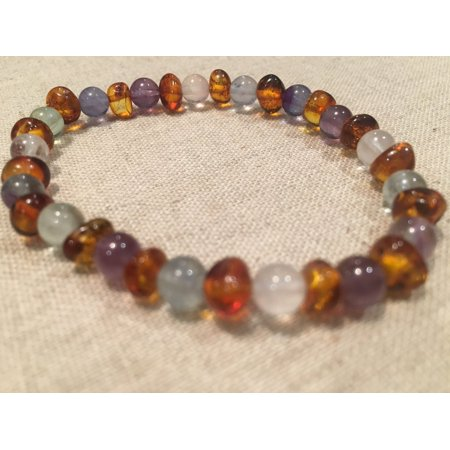 Rainbow Aura Quartz - Baltic Amber Teen Adult 6.5 to 7 inch Bracelet Rainbow Cognac Amber Pink Rose Quartz Green Fluorite Purple Amethyst Stretch