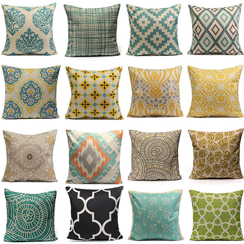 Girl12Queen Home Decor Vintage Geometric Flower Cotton Linen Throw Pillow Case Cushion... by 4.5