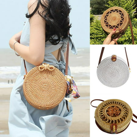 Fashion Women Handmade Round Rattan Bags Woven Straw Bag Bamboo Shoulder bag Summer Beach