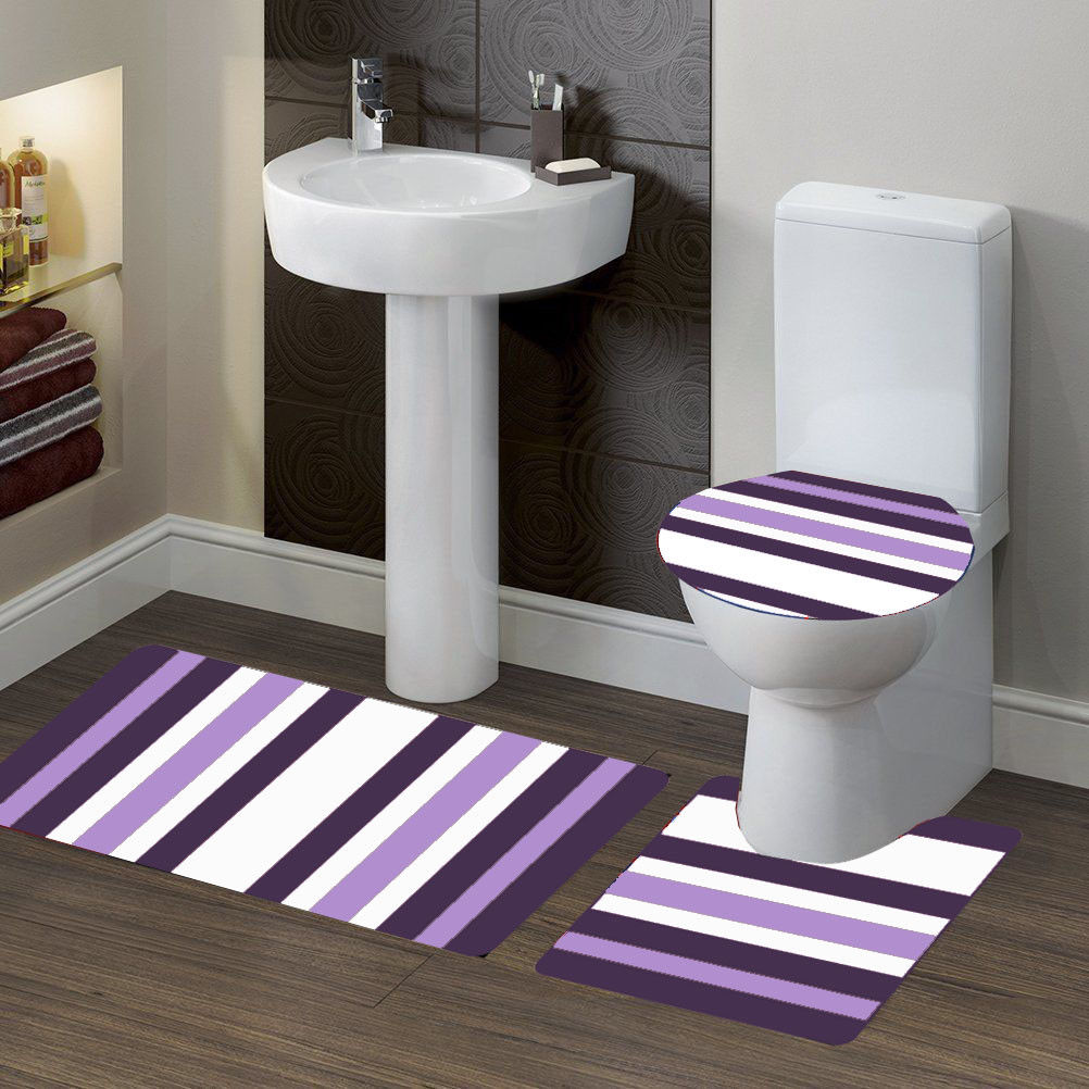 "3-PC (#7) Stripe Purple HIGH QUALITY Jacquard Bathroom Bath Rug Set Washable Anti Slip Rug 18""x28"", Contour Mat 18""x18"" and Toilet Seat Lid Cover 18""x19"" with Non-Skid Rubber Back"