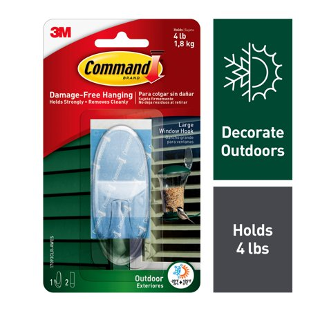 Command Outdoor Clear Window Hook, Large, 1 Hook, 2