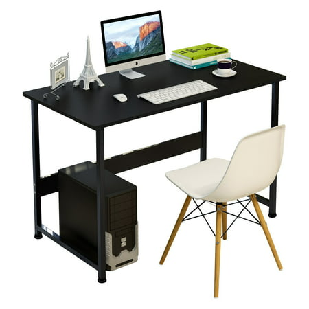 - DL furniture - Simple Plain Laptop Desk Computer Desk Table Personal Working Space With 4 Steel Legs Stand Desk for Living Room Bedroom & Office - Black