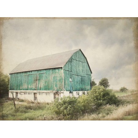 Elizabeth Real Photo - Late Summer Barn I Crop Vintage Turquoise Teal Farmhouse Country Photo Print Wall Art By Elizabeth Urquhart