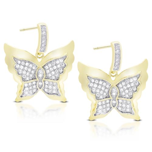 Samantha Stone  Gold Over Sterling Silver Cubic Zirconia Dangling Butterfly Earrings