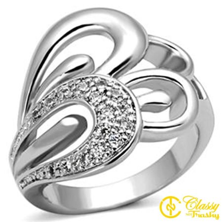 Classy Not Trashy® Size 5 Calla Lilies Themed Ring with Single Pave Clear CZ Flower (Calla Lily Ring)