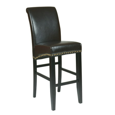 OSP Home Furnishings 30u0022 Parsons Barstool in Espresso Bonded Leather with Nail Heads