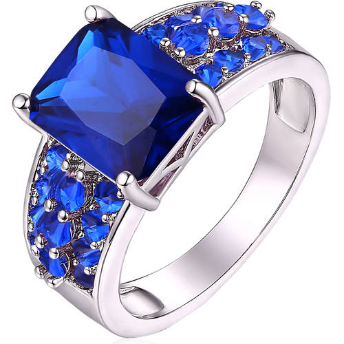5 Carat T.G.W. Genuine Sapphire 18kt White Gold-Tone Ring