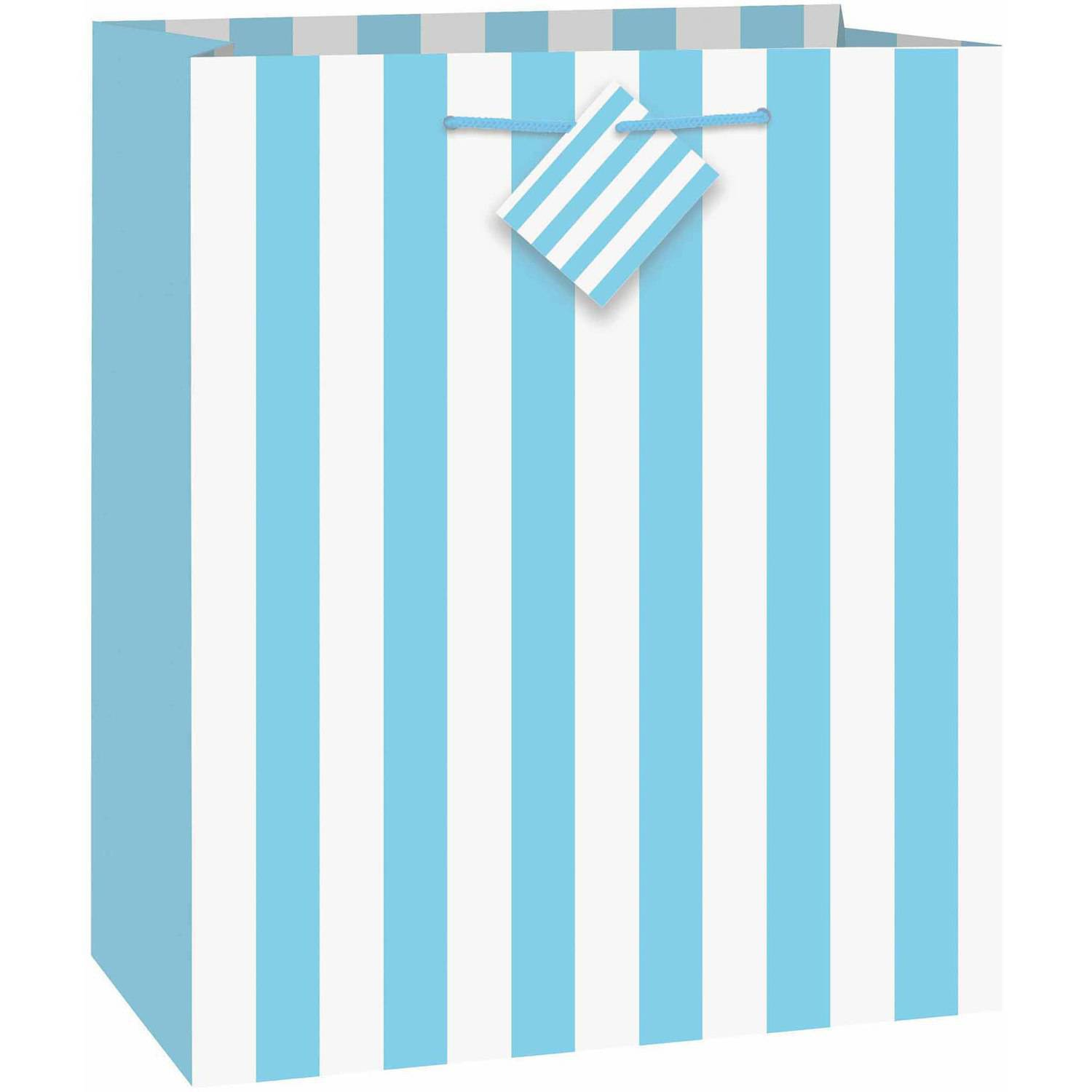 Large Light Blue Striped Gift Bag