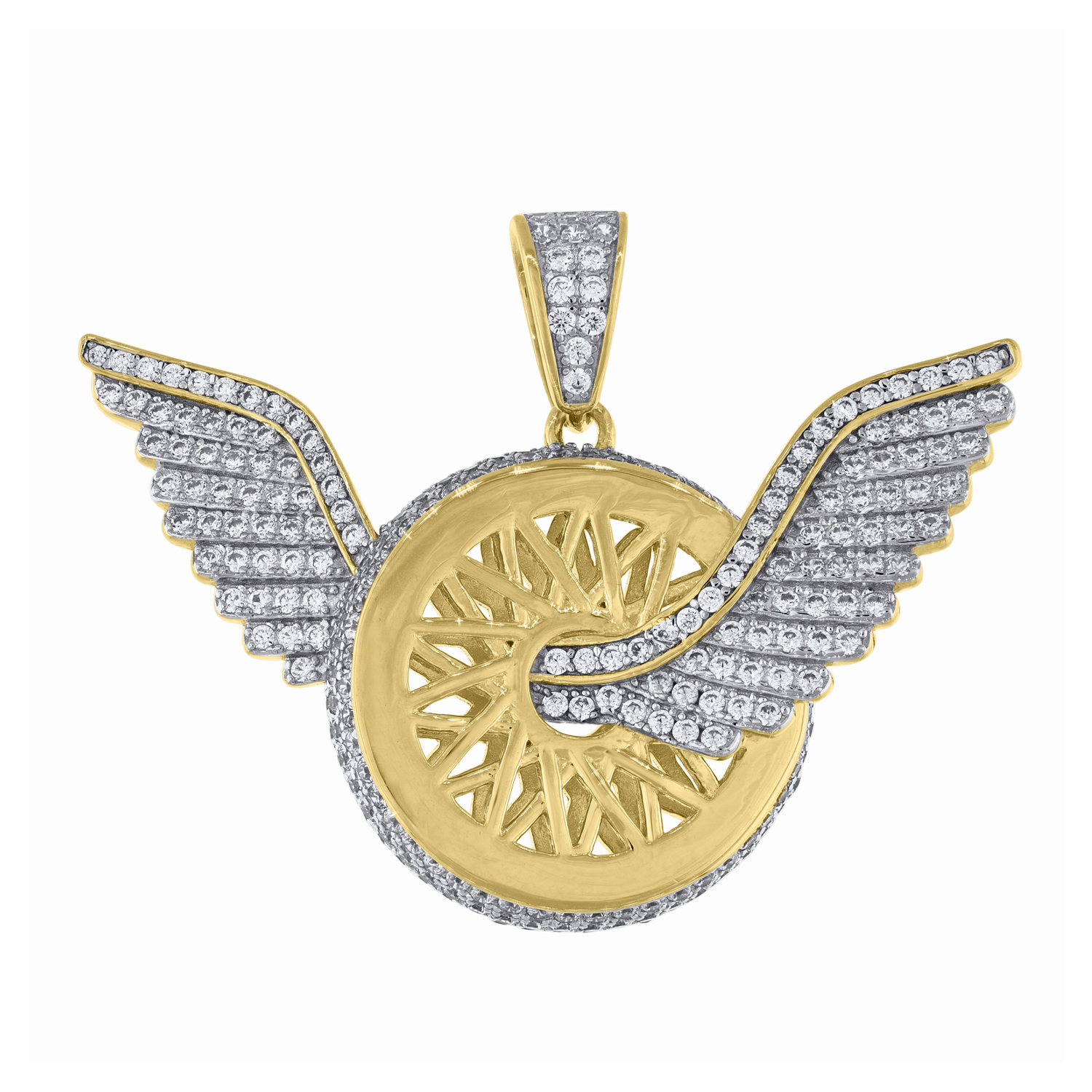 Sterling Silver Yellow-tone Cubic Zirconia CZ Flying Wheel Mens Pendant
