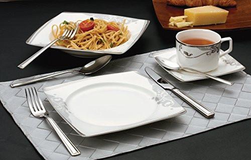 Lorenzo 30 Piece Elegant Bone China Service for 4 Belle Dinnerware Sets, Silver by Lorren Home Trends
