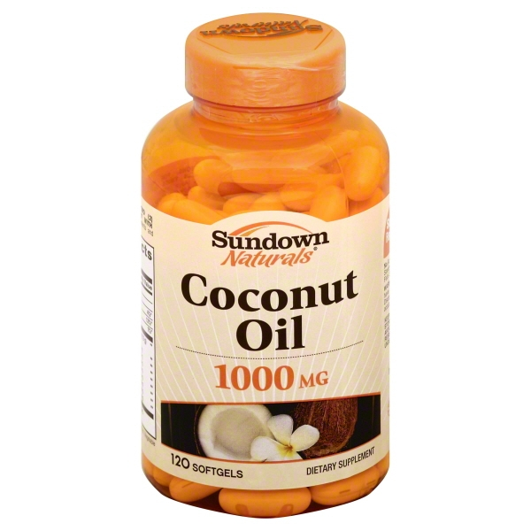 Sundown Naturals Dietary Supplement Coconut Oil 1000 mg Softgels 120 Soft Gels