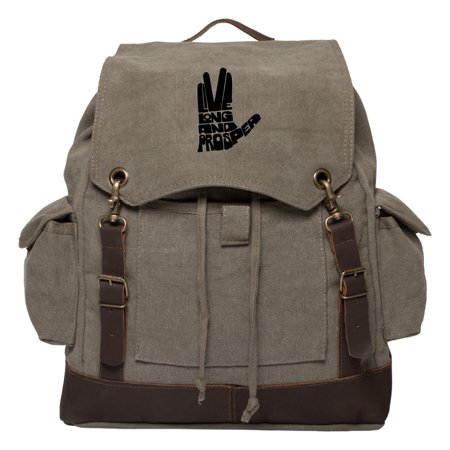 Live Long And Prosper Hand With Text Vintage Canvas Rucksack w/ Leather