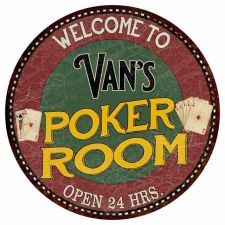 "Van's Poker Room 14"" Round Metal Sign Kitchen Bar Red Wall Décor MR14128030"