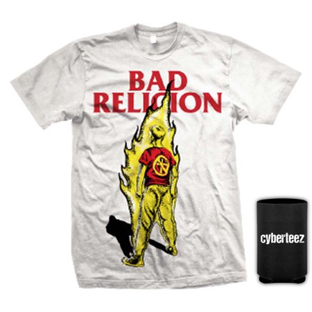 Bad Religion T-Shirt Suffer Kid On Fire Album Cover White T-Shirt + Coolie (S) ()