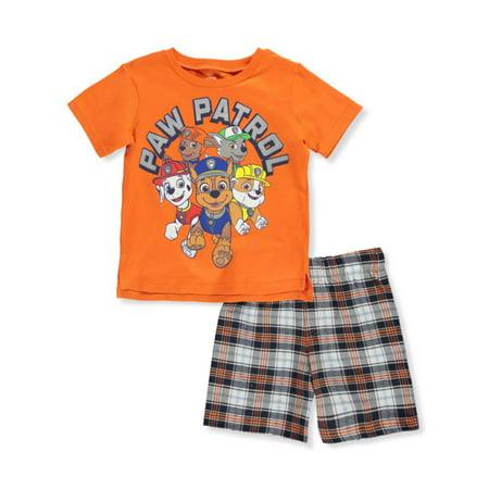 Paw Patrol Boys' Casual Plaid 2-Piece Shorts Set Outfit (Little Boys) Paw Print Clothes