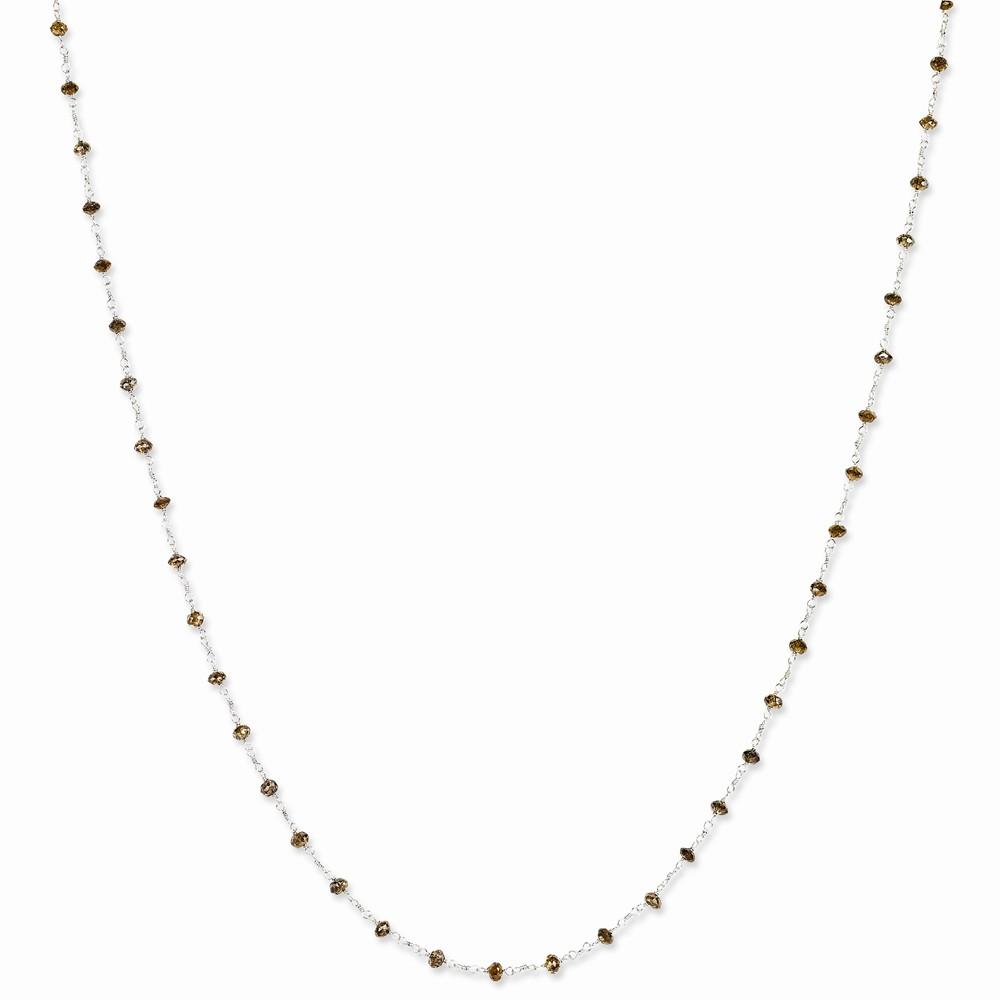 14k White Gold 18in Brown Diamond Briolette Necklace. Carat Wt- 6.65ct