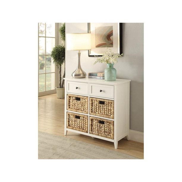 Console Table With Wicker Crate Baskets, White Console Table With Storage Baskets